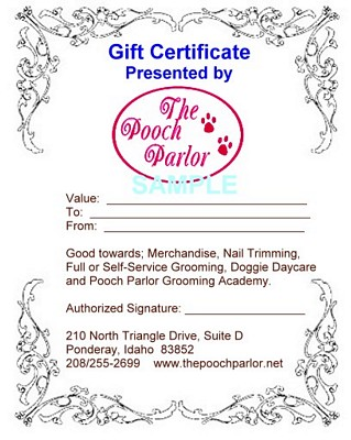 Pooch parlor Gift Certificate